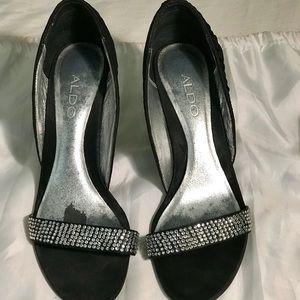 Aldo's black rhinestone heels